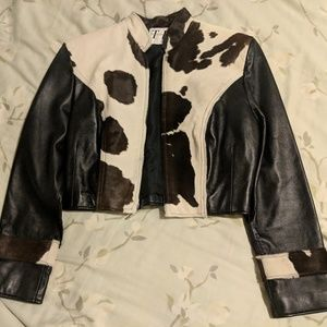 Gorgeous Leather and Cow Hide Crop Jacket sz SM